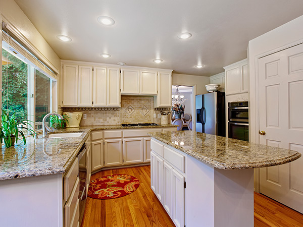 gray kitchen countertops and island